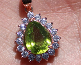Peridot 3.20ct Solid 925 Sterling Silver Rose Gold Finish Pendant