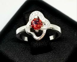 Natural Rhodolite Garnet Silver Ring With Cubic Zirconia