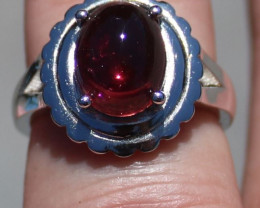 Rubellite 4.02ct Solid 925 Sterling Silver Rhodium Finish Solitaire Ring