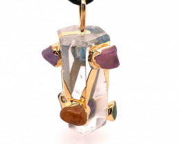 Crystal & Seven Chakra Terminated Point - natural stones - Pendant BR 639