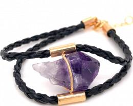Raw Amethyst Gemstone Bracelet BR 643