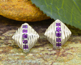 Natural Amethyst 925 Sterling Silver Earrings (SSE0501)