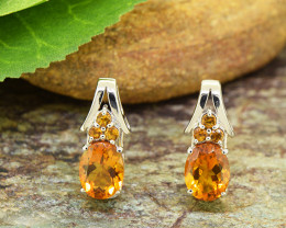 Natural Citrine 925 Sterling Silver Earrings (SSE0499)