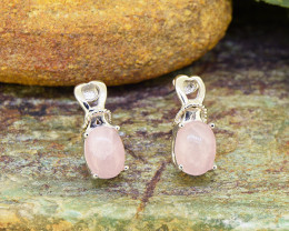 Natural Rose Quartz 925 Sterling Silver Earring (SSE0500)