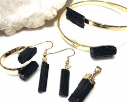 Spiritual black Tourmaline 4 pc  Jewelry Set  BR 2016