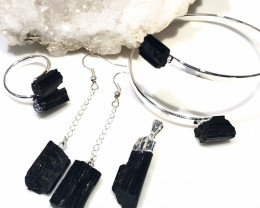 Spiritual black Tourmaline 4 pc  Jewelry Set  BR 2020