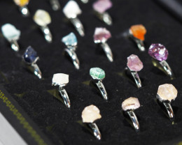 x20 set Raw Gemstone Silver Plated Rings BR 672