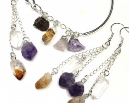 Raw Multi Gemstone  swing  4 pc jewelry set Br 2032