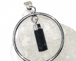 Raw Black Tourmaline  Earth round Pendant  BR 2037