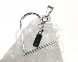 Raw Black Tourmaline  Lovers Heart Pendant  BR 2046