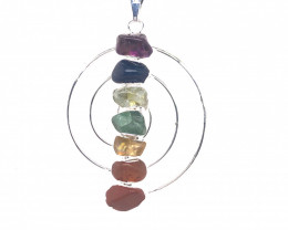 Seven Chakra - natural stones - Infinite design pendant 675