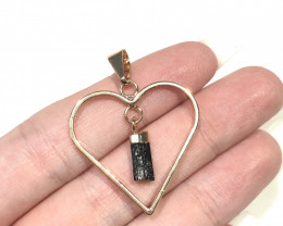 Raw Black Tourmaline  Lovers Heart Pendant  BR 2049