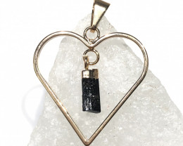 Raw Black Tourmaline  Lovers Heart Pendant  BR 2050