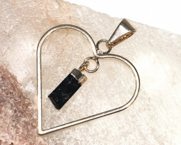 Raw Black Tourmaline  Lovers Heart Pendant  BR 2051