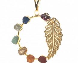 Seven Chakra - natural stones - Fern Leaf Design pendant 678