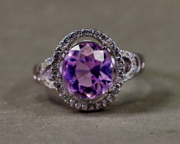 21.15 Cts Unheated & Natural ~ Purple Pink Kunzite Silver Ring