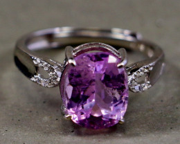 14.00 Cts Unheated & Natural ~ Purple Pink Kunzite Silver Ring