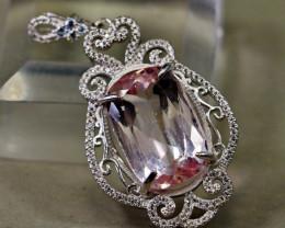 63.95 Cts Unheated & Natural ~ Purple Pink Kunzite Silver Pendant