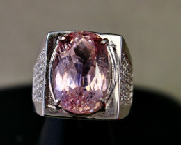 66.15 Cts Unheated & Natural ~ Purple Pink Kunzite Silver Ring
