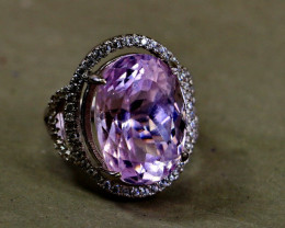 35.80 Cts Unheated & Natural ~ Purple Pink Kunzite Silver Ring