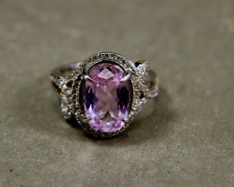 14.45 Cts Unheated & Natural ~ Purple Pink Kunzite Silver Ring