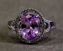 25.70 Cts Unheated & Natural ~ Purple Pink Kunzite Silver Ring