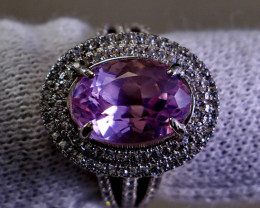 19.45  Cts Unheated & Natural ~ Purple Pink Kunzite Silver Ring
