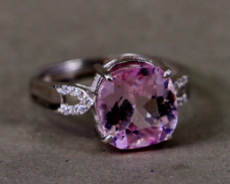 33.95 Cts Unheated & Natural ~ Purple Pink Kunzite Silver Ring