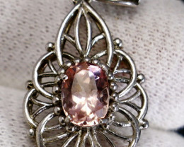 23.15 Cts Unheated & Natural ~ Purple Pink Kunzite Silver Pendant