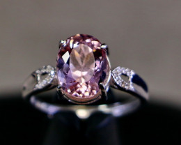 14.60 Cts Unheated & Natural ~ Purple Pink Kunzite Silver Ring