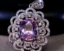42.10 Cts Unheated & Natural ~ Purple Pink Kunzite Silver Pendant