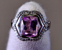 23.90 Cts Unheated & Natural ~ Purple Pink Kunzite Silver Ring
