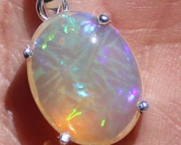 Solid Silver Opal Pendants