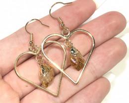 Terminated beautiful Citrine in Heart shape  Earrings n Pendant BR 2073