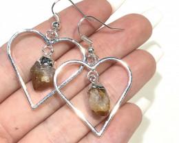 Terminated beautiful Citrine in Heart shape  Earrings n Pendant BR 2076