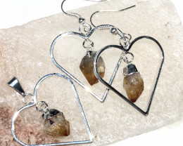 Terminated beautiful Citrine in Heart shape  Earrings n Pendant BR 2077