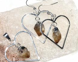 Terminated beautiful Citrine in Heart shape  Earrings n Pendant BR 2078