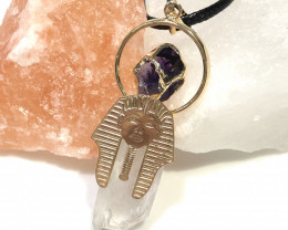 Pharaoh Crystal Terminated Point & Amethyst - Pendant Br 20