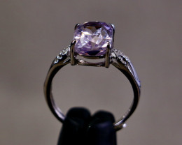 15.05 Cts Unheated & Natural ~ Purple Pink Kunzite Silver Ring
