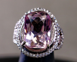 34.20 Cts Unheated & Natural ~ Purple Pink Kunzite Silver Ring