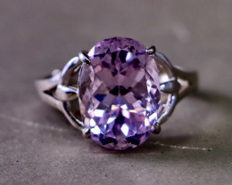 20.10 Cts Unheated & Natural ~ Purple Pink Kunzite Silver Ring