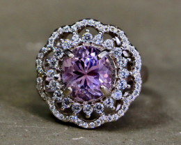 28.05 Cts Unheated & Natural ~ Purple Pink Kunzite Silver Ring