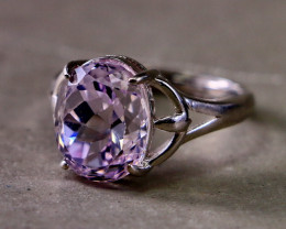 20.20 Cts Unheated & Natural ~ Purple Pink Kunzite Silver Ring