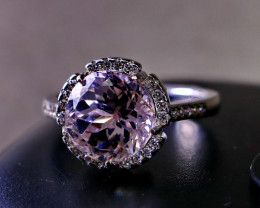 20.65 Cts Unheated & Natural ~ Purple Pink Kunzite Silver Ring