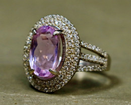 32.25 Cts Unheated & Natural ~ Purple Pink Kunzite Silver Ring