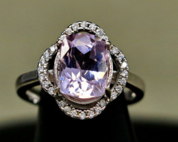 17.20 Cts Unheated & Natural ~ Purple Pink Kunzite Silver Ring