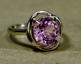 20.45 Cts Unheated & Natural ~ Purple Pink Kunzite Silver Ring