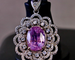 40.35 Cts Unheated & Natural ~ Purple Pink Kunzite Silver Pendant