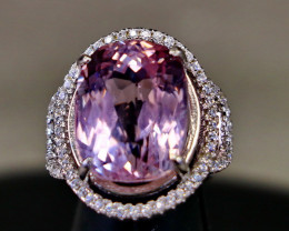 36.90 Cts Unheated & Natural ~ Purple Pink Kunzite Silver Ring
