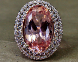 31.70 Cts Unheated & Natural ~ Purple Pink Kunzite Silver Ring